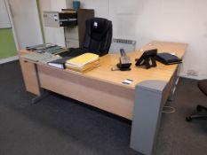2 x office workstations, each comprising – corner desk, pedestal drawer & chair