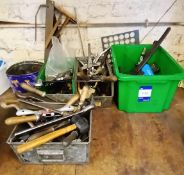 Quantity of Various Hand Tools to 4x Various Storage Bins to Include; Files, Spanners, Clamps etc.