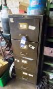 Metal Four Draw Filing Cabinet with Contents Included of Various Metal Components etc.