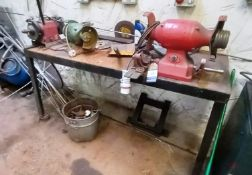 Steel Fabricated Work Bench with 3x Various Twin Wheel Bench Grinders