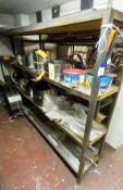 Contants of Stock to 2x Racks and Floor to Include Various Hardened and Tempered Steel Strips