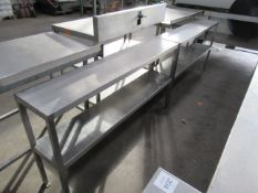 2x Slim Line stainless steel shelving two teir units 1500 x 300mm each, 800mm table