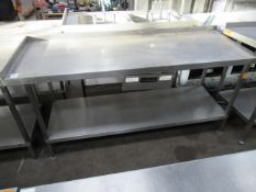 Lockhart stainless steel preperation table with central knife drawer and undershelf 1800 x 650mm