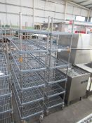 2 x 6 tier plastic coated mobile kitchen shelving units approx. 1530 x 450 x 2000mm tall