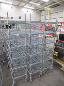 3 x 6 tier plastic coated mobile kitchen shelving units approx. 1070 x 450 x 2000mm tall