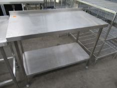 Stainless steel preperation table with under shelf 1250 x 650mm