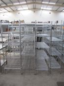 4x various stainless steel wired kictchen shelving units