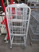 3 x Craven 7 space mobile tray trolleys approx 1400mm tall and 1 craven mobile storage trolley appro