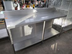 Stainless steel preperation table with double electric socket and under shelf 1800 x 600mm