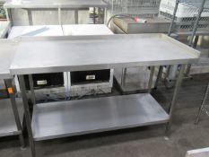 Stainless steel preperation table with undershelf 1500 x 650mm