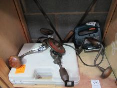 Hand tools to include 3x hand drills, 1x AEG jigsaw and a Bosch 9.6v drill 'no charger'