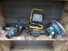 A selection of hand tools to include a Makita circular saw 110v, a Bosch 110v drill 'no plug' and 2x