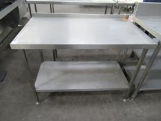 Stainless steel preperation table with under shelf 1250 x 700mm