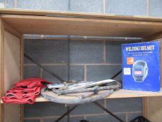 Shelf to include welding helmet, bagging and gauntlets