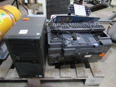 Fujistu Esprimo computer, HP printer and two monitors