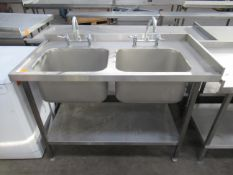 stainless steel double sink unit with mix taps and under shelf 1300 x 650mm