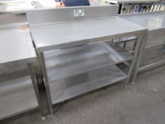 Stainless steel preperation table with two under shelves and double electrical socket 1200 x 700mm