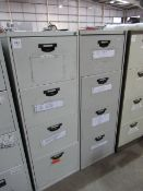 Pair of four drawer filing cabinets (no keys)