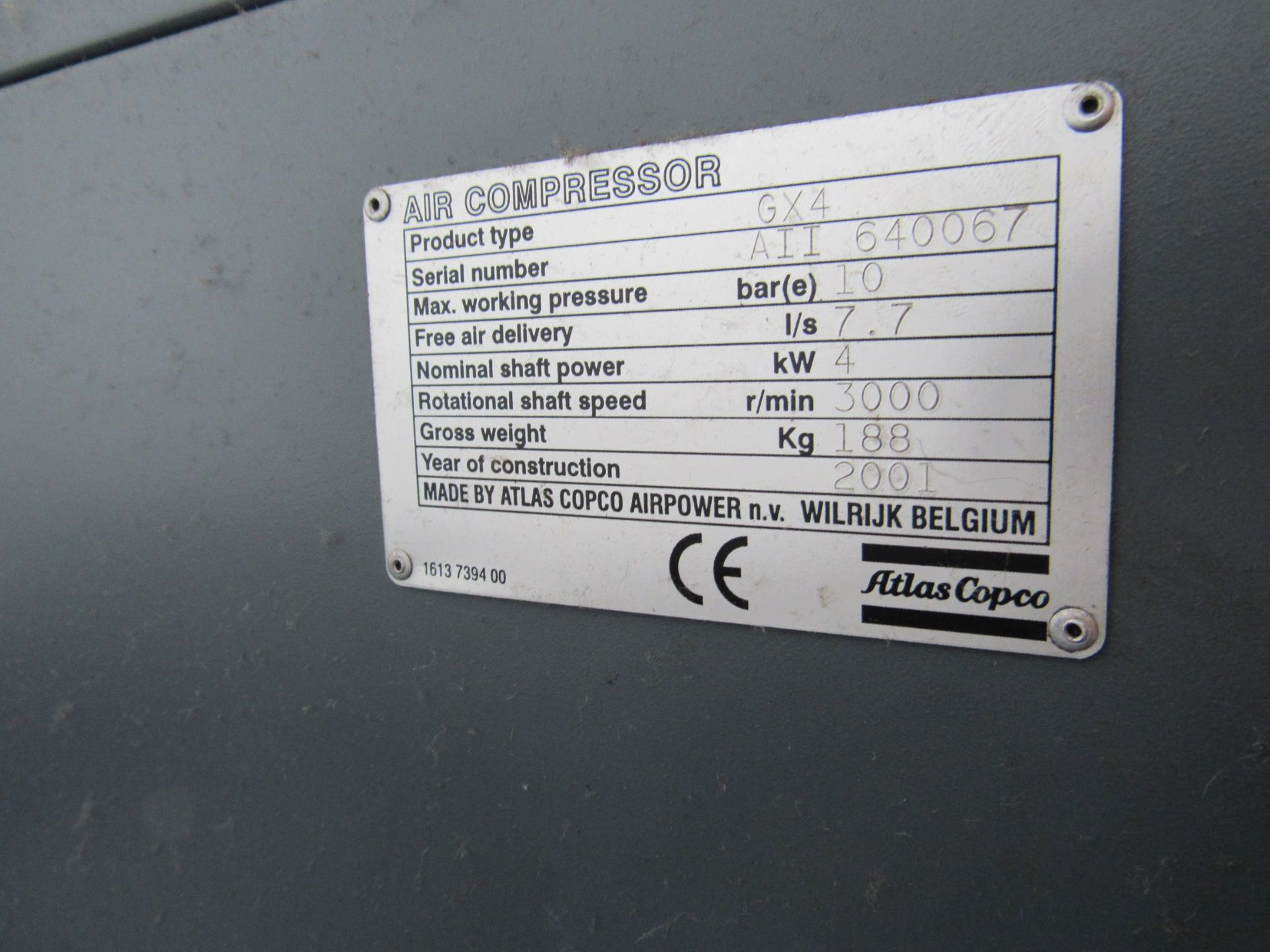 Atlas Copco GX4 Receiver Mounted Compressor, 7847 Hours, Serial Number AII 640067, 2001 - Image 4 of 5