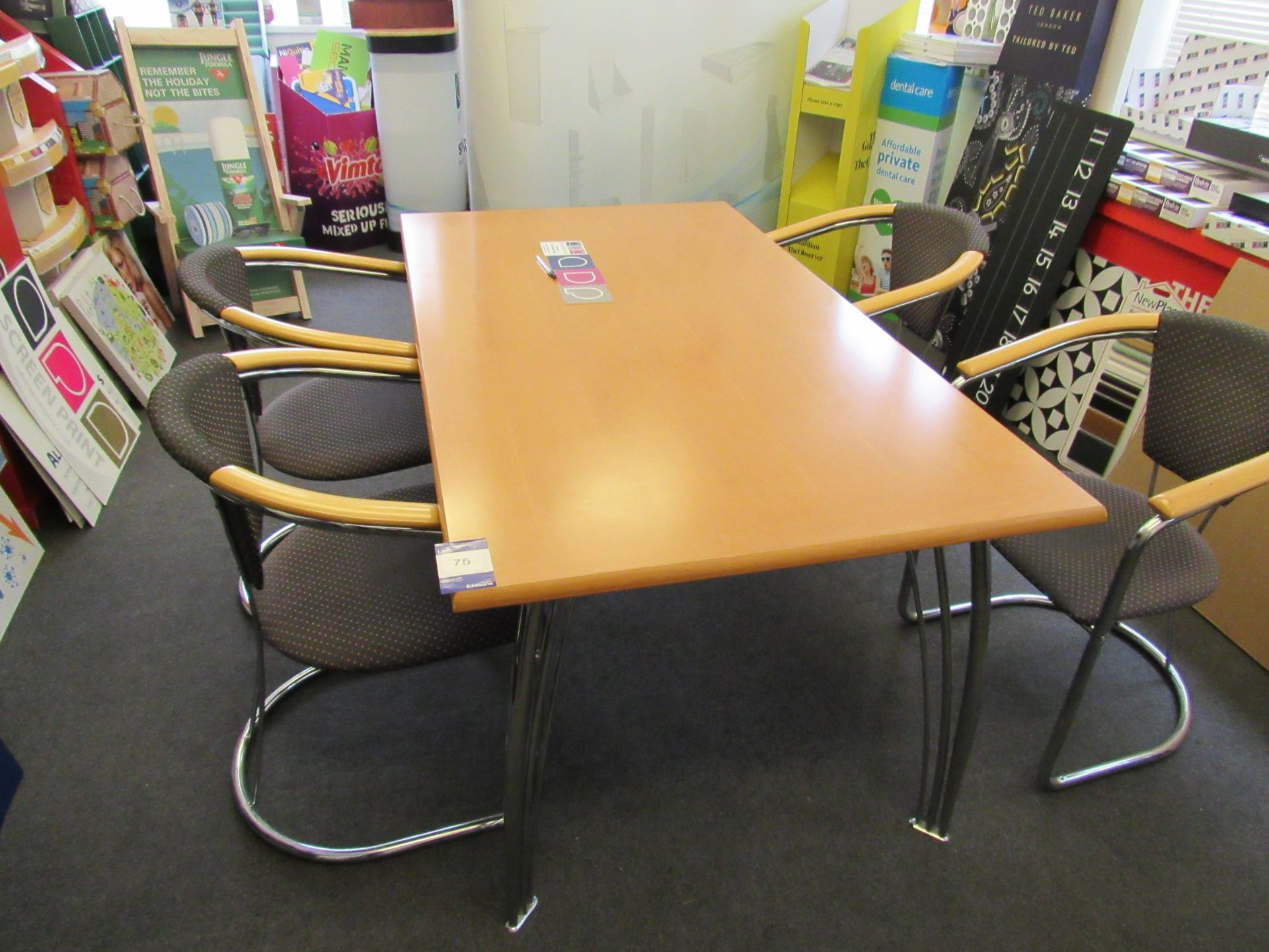 Meeting room table (Approximately 1580 x 900) with 4 x chairs - Image 2 of 2