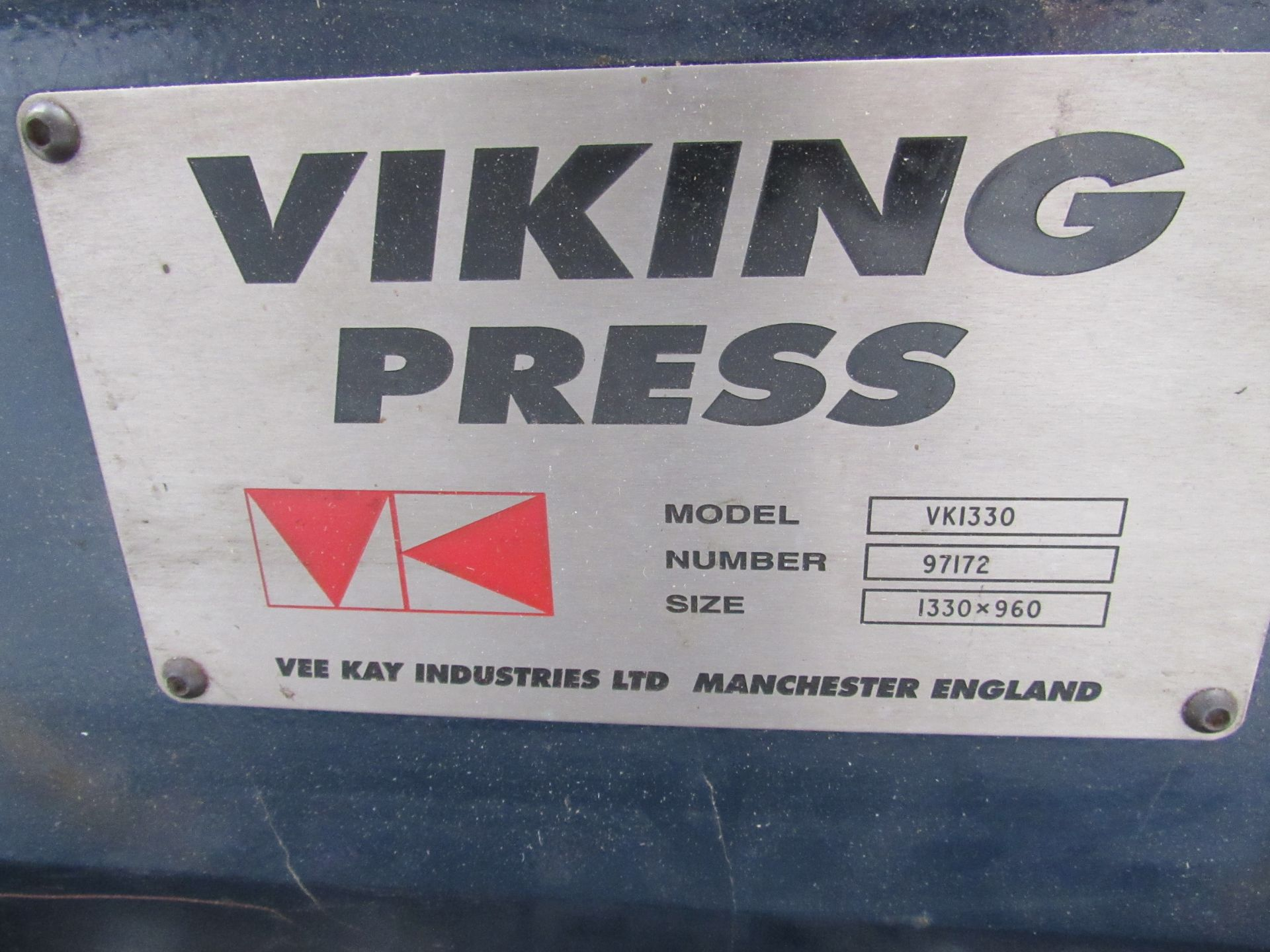 Viking Press VK1330 Cut and Crease Platen 1330 x 960mm Serial Number 97172 - Image 7 of 9
