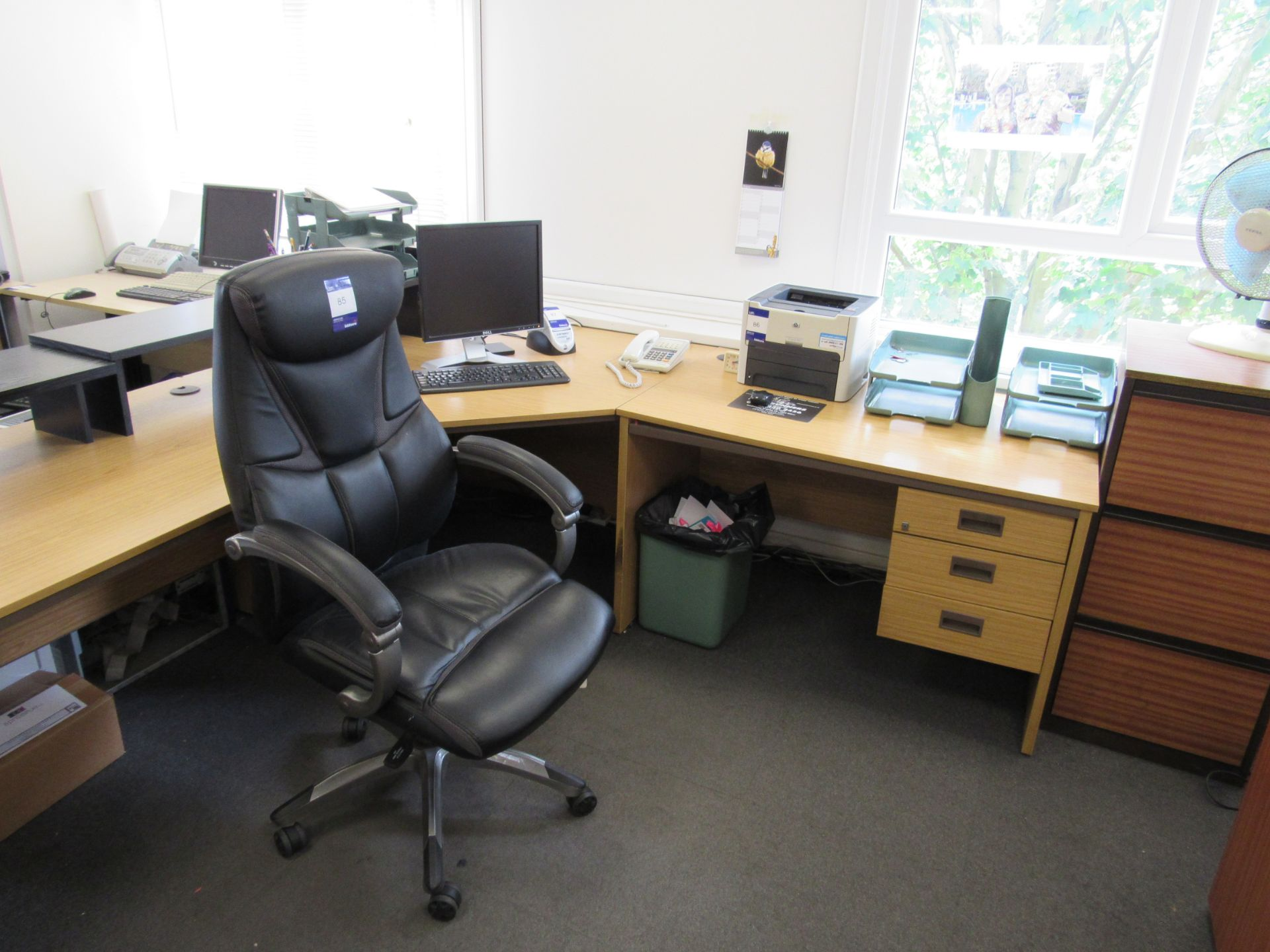 Single person 3-section workstation, with leather effect operators chair, and 3 drawer filing