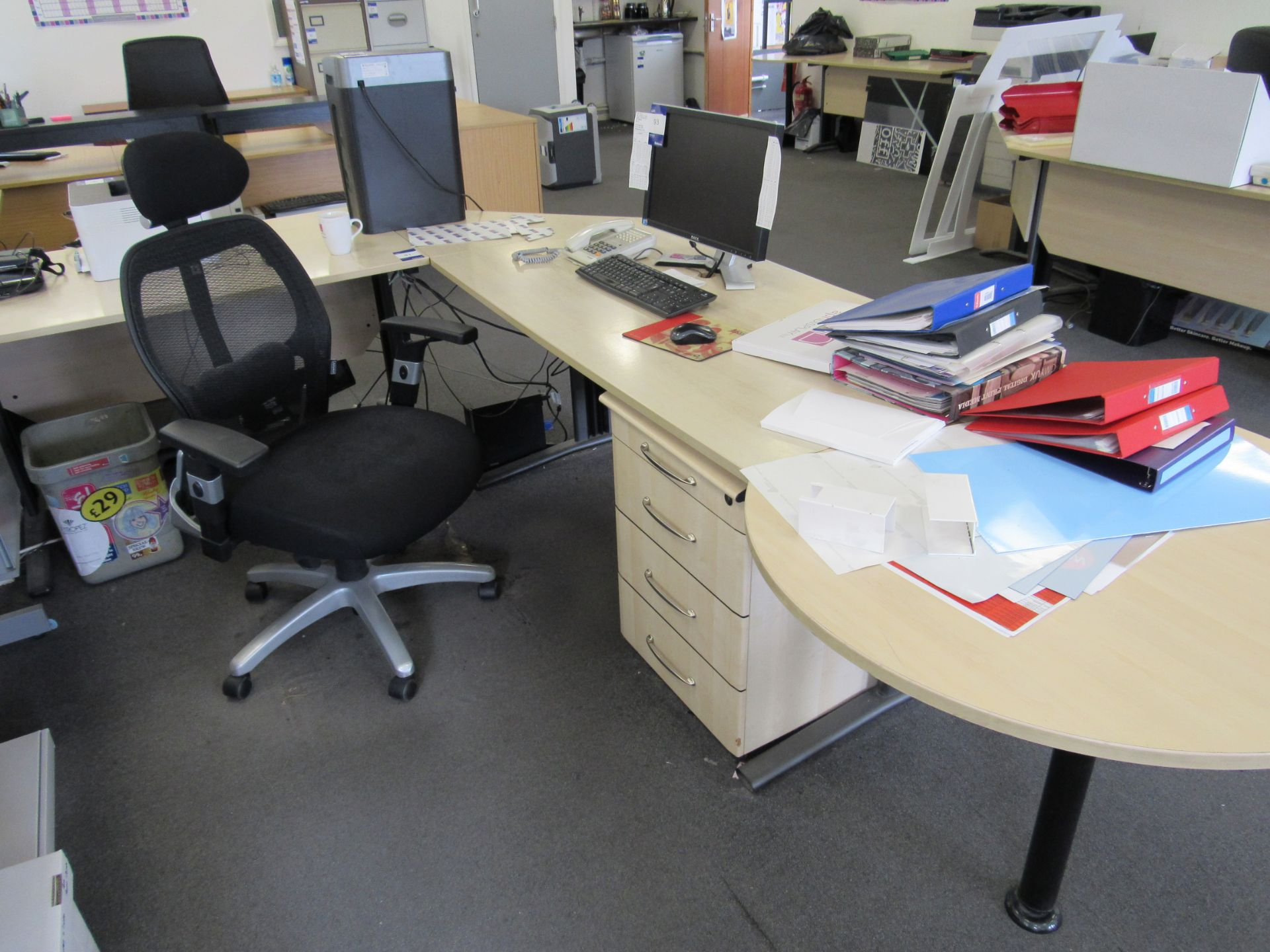 Single person 2 section workstation with operator's chair, to first floor office (Computers not