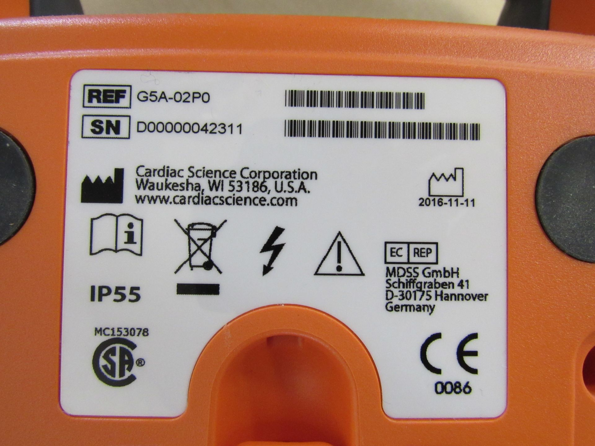 PowerHeart G5 automatic external defibrillator, Serial Number D00000042311 - Image 3 of 3