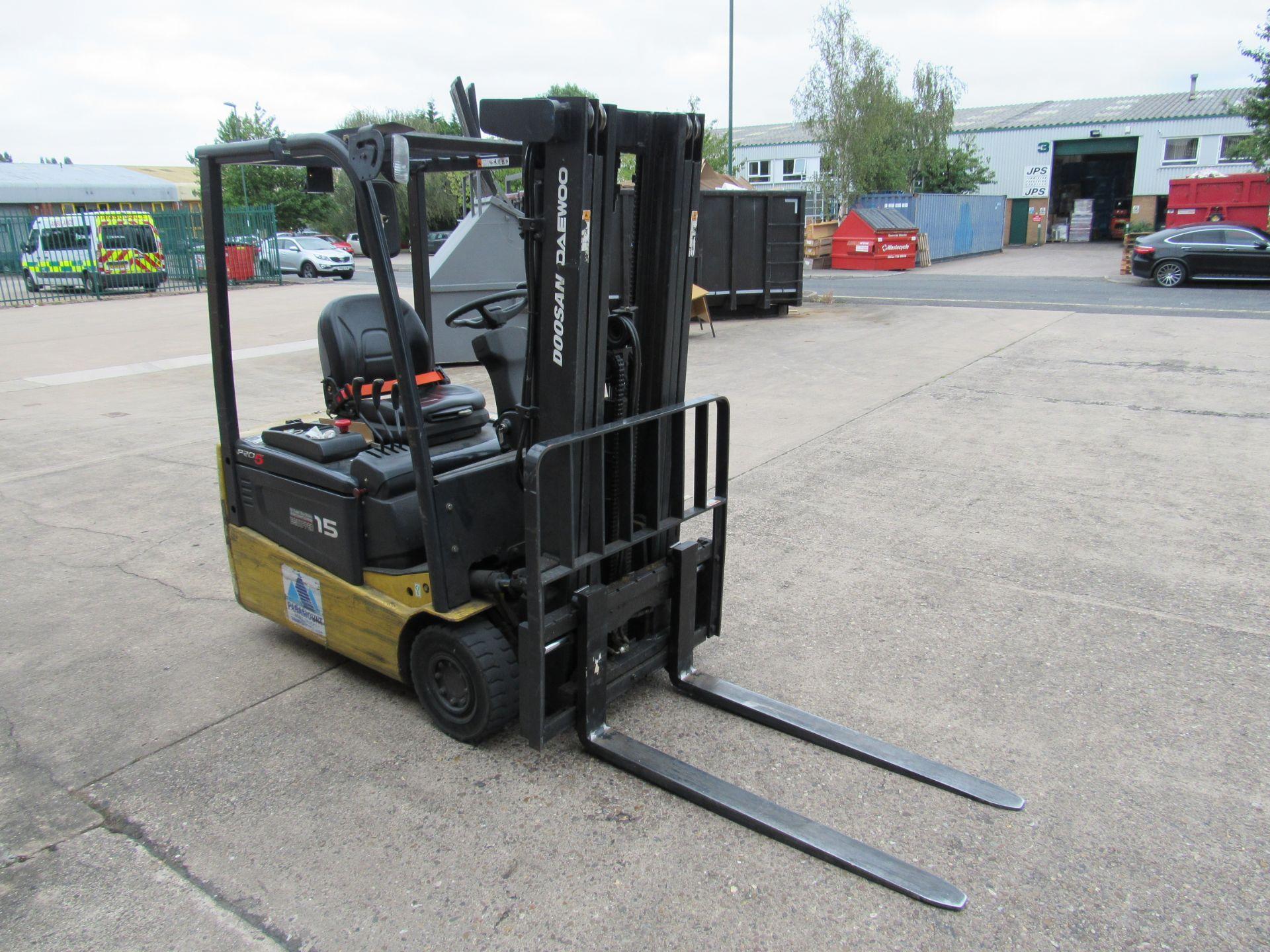 Doosan Daewoo B15T-5 Battery Forklift, 1320kg Capacity, 2278 Hours, Triple Mast, Side Shift, 2007,