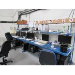 2 Steel Workstations with Quantity Various Computer Monitors, Keyboards, and Printer (PC Towers
