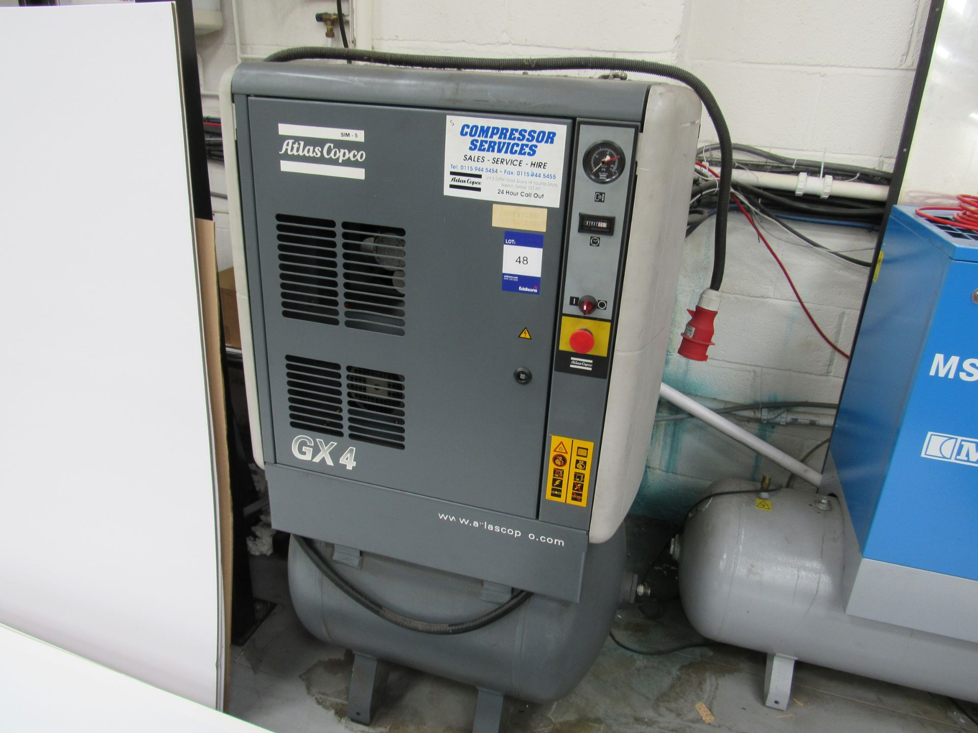 Atlas Copco GX4 Receiver Mounted Compressor, 7847 Hours, Serial Number AII 640067, 2001 - Image 2 of 5