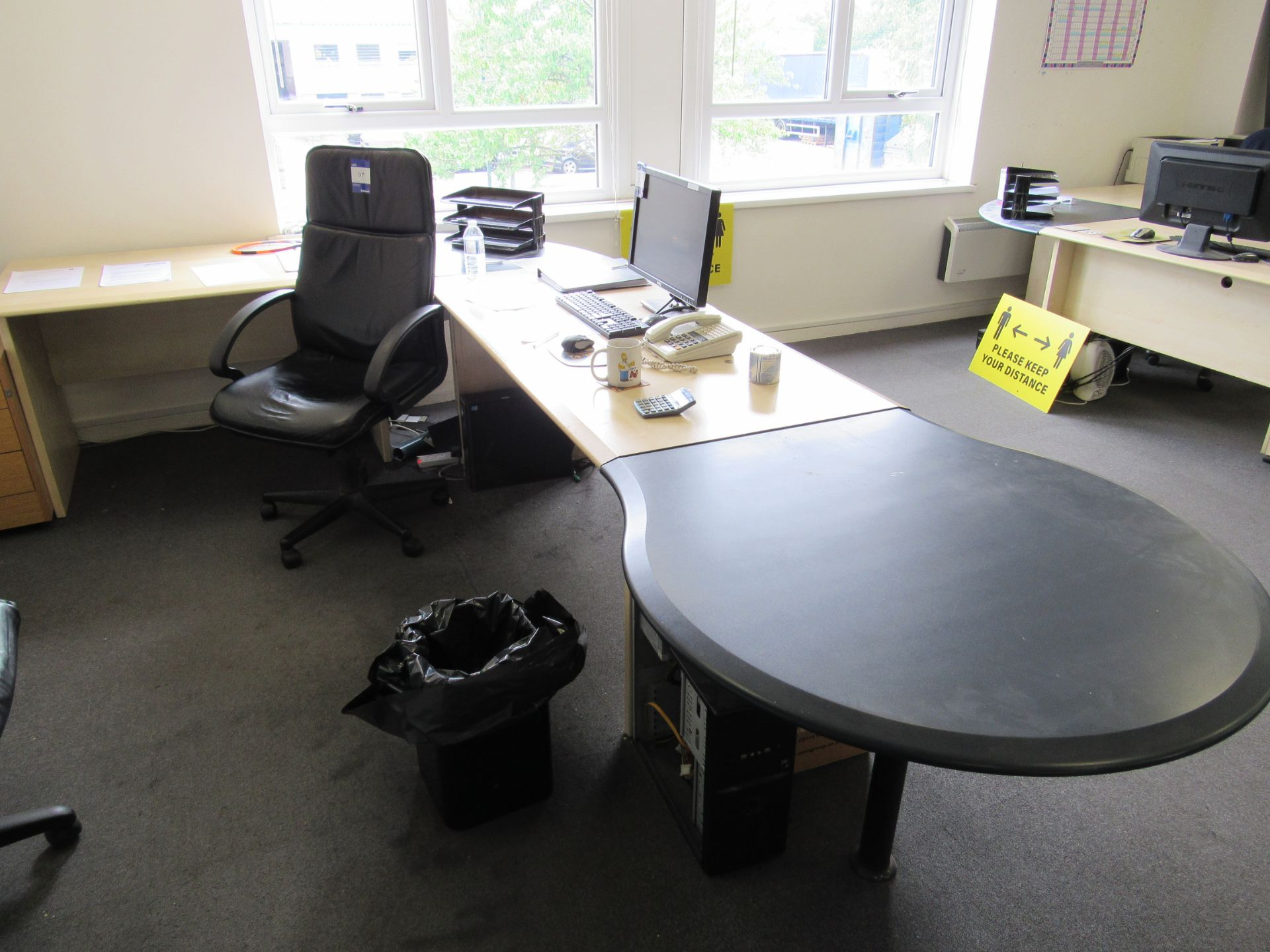 Single person multi-sectional workstation with leather effect operators chair, and 3 drawer