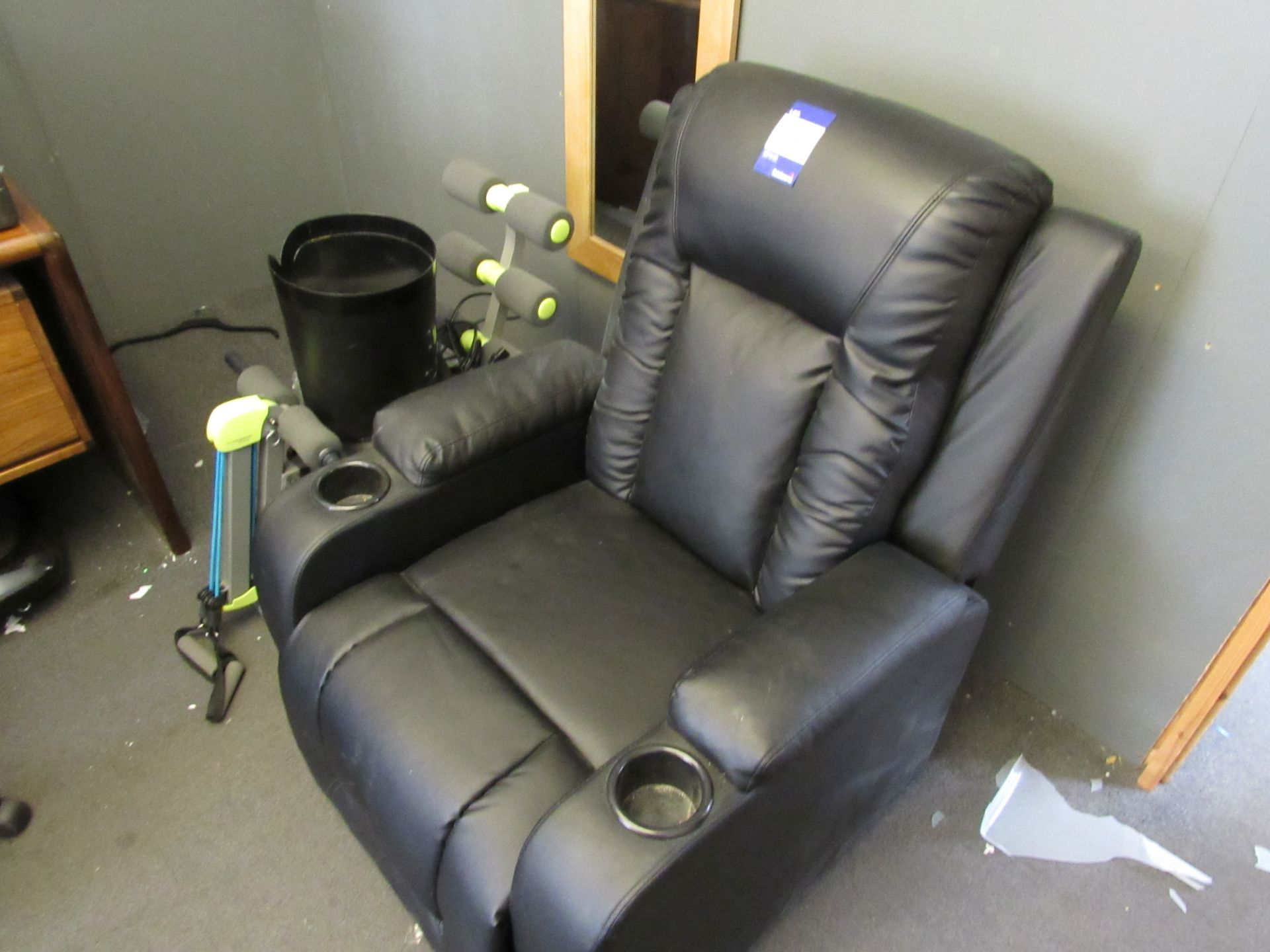 Leather effect 'Lazy Boy' style armchair
