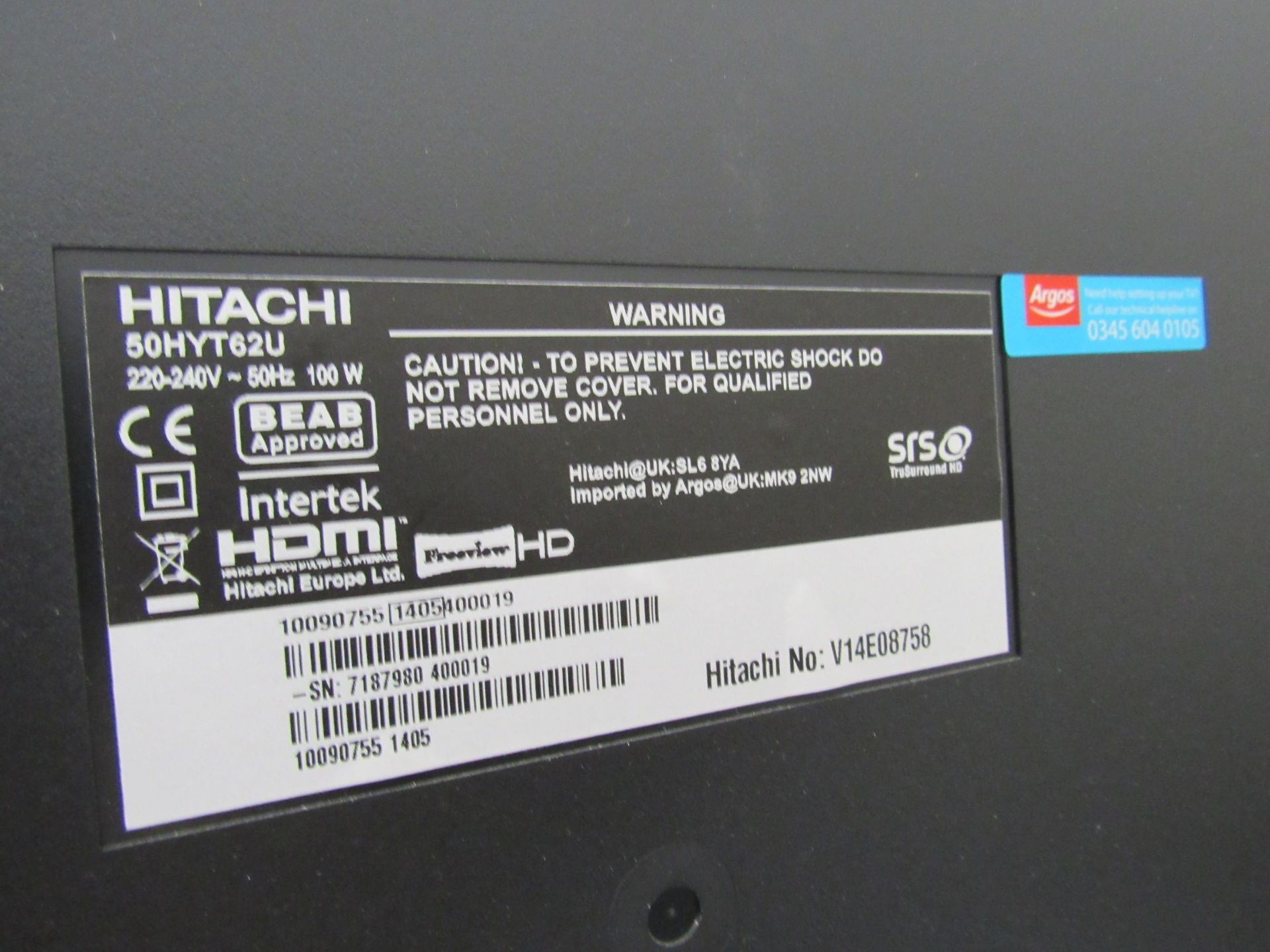Hitachi 50HYT62U television, with remote control - Image 3 of 4