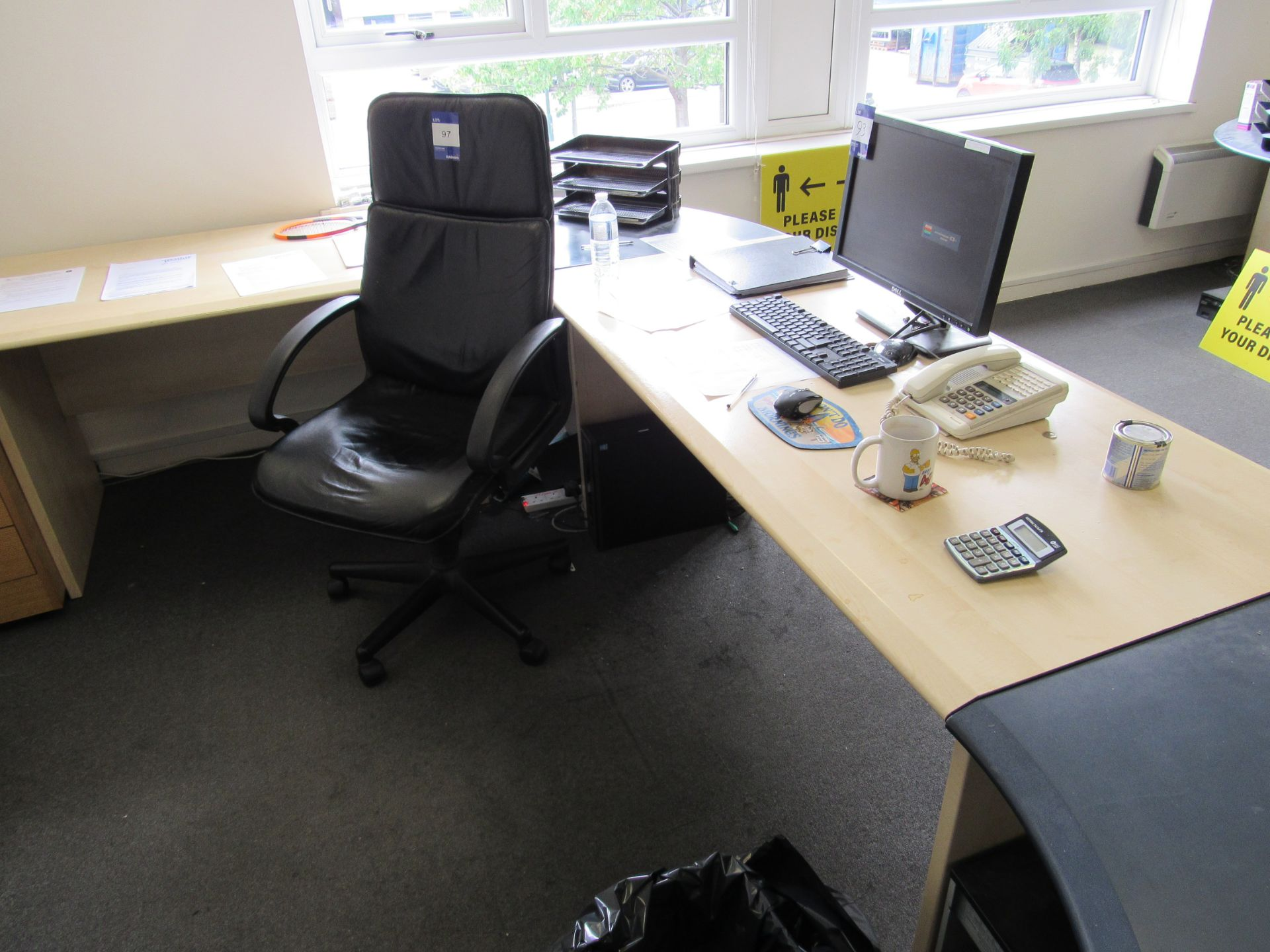Single person multi-sectional workstation with leather effect operators chair, and 3 drawer - Image 2 of 3