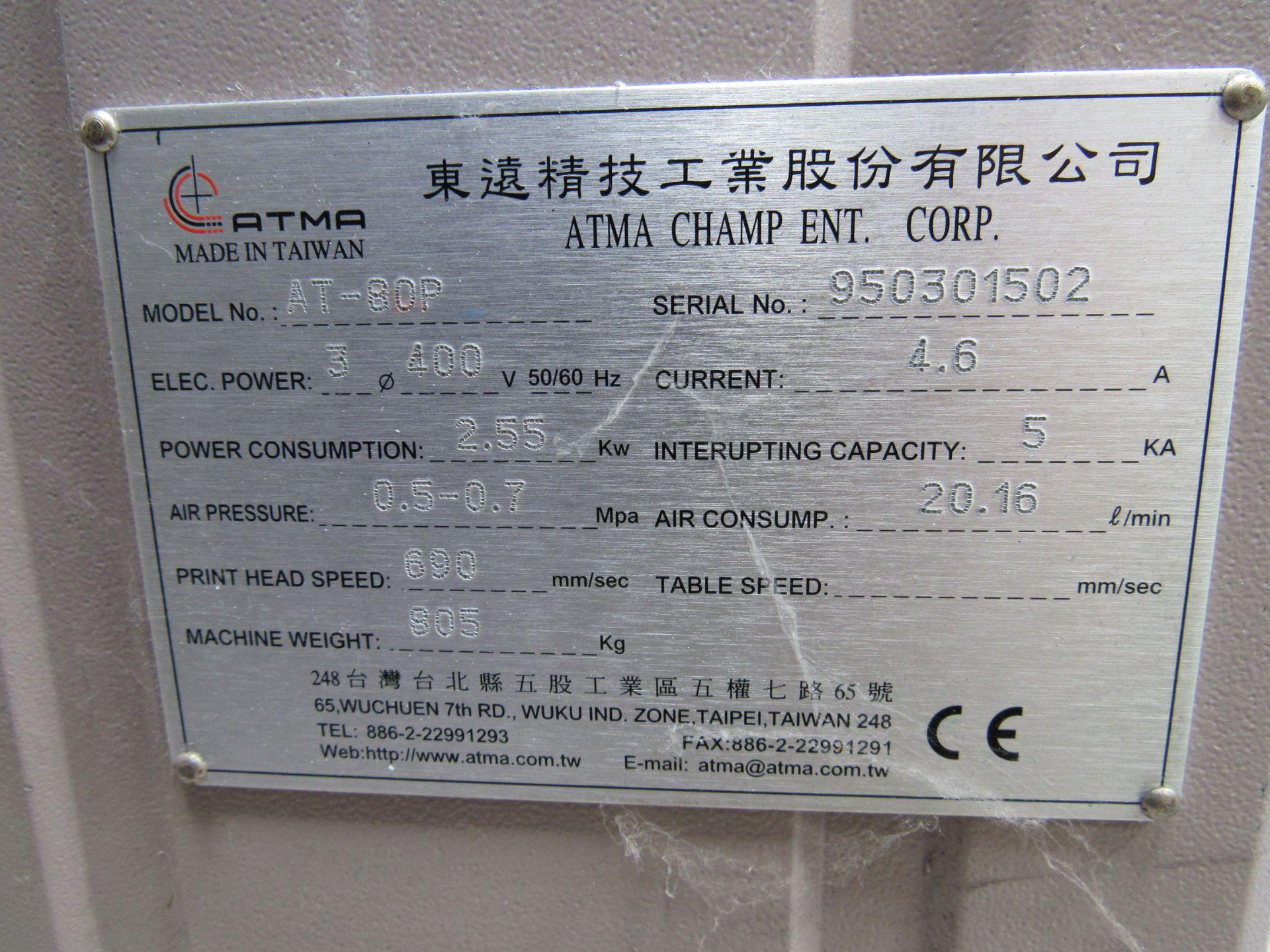 ATMA AT-80P Screen Printer 700x900mm, Serial Number 950301502 - Image 5 of 7