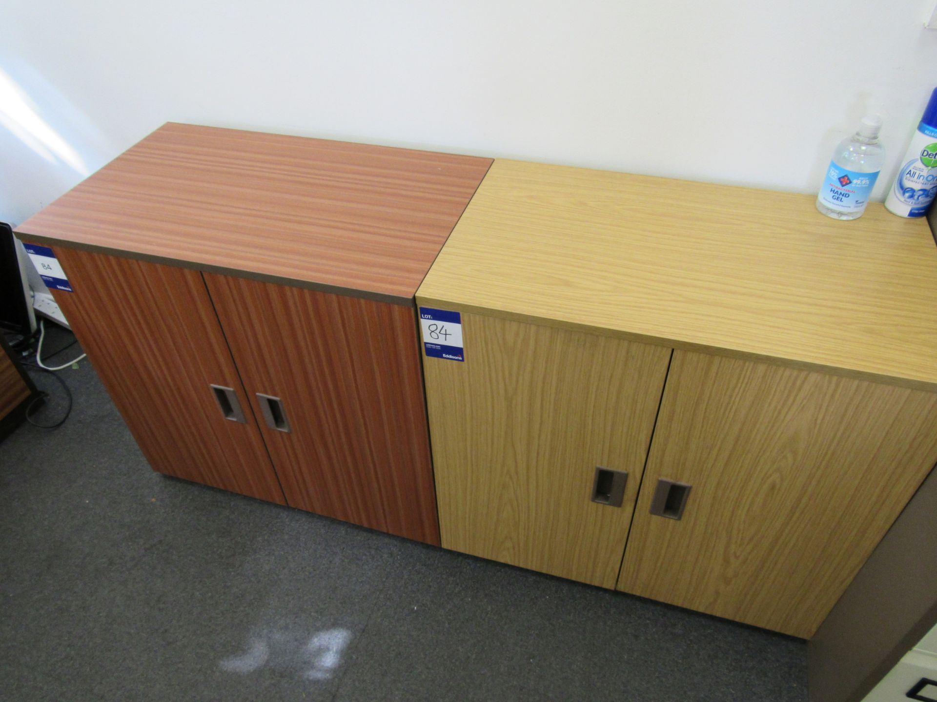 4 x Assorted low level double door cupboards (Approximately 750 x 710 x 450), to first floor office
