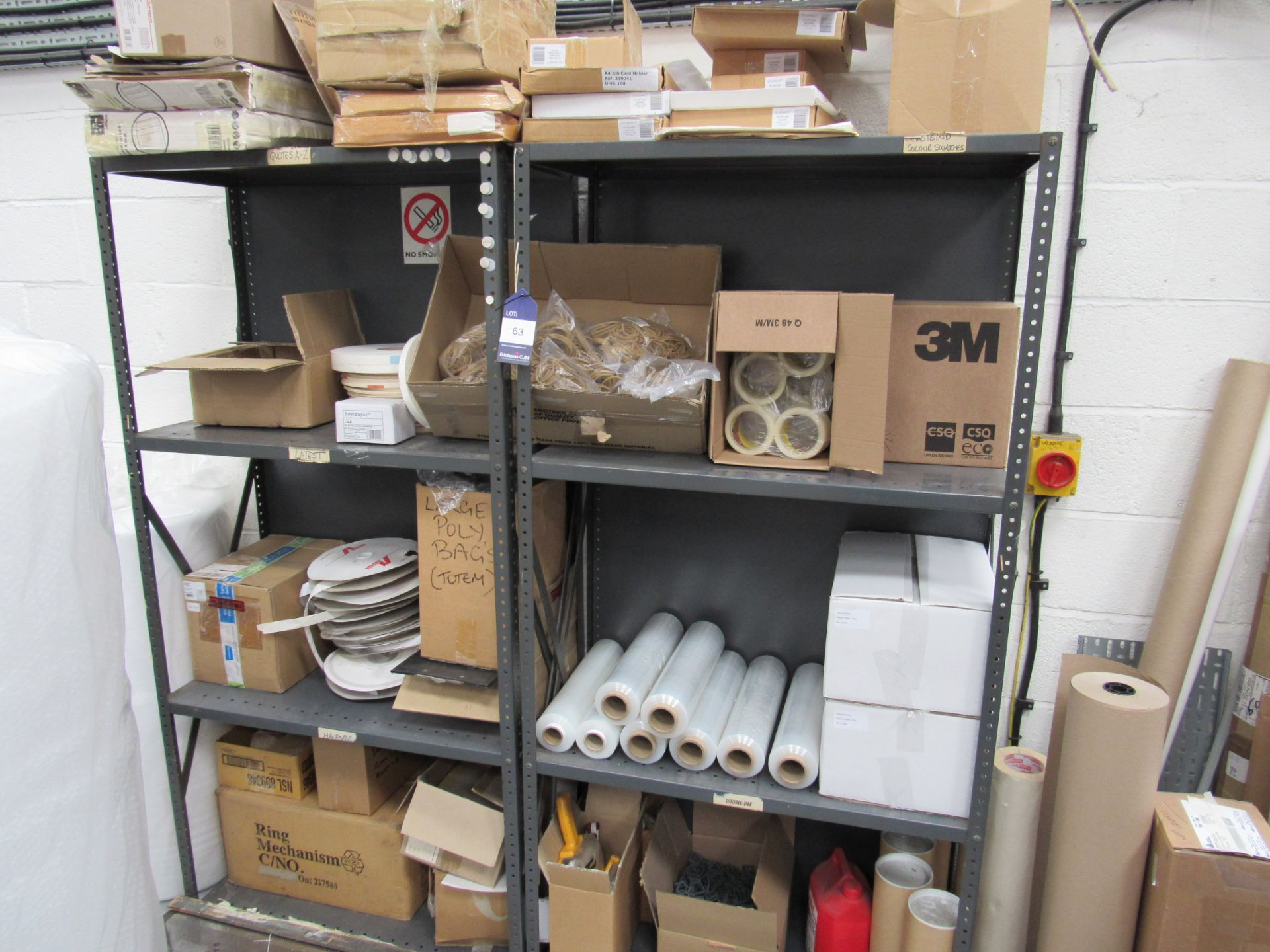2 Bolted Steel Shelf Unit and Quantity Stocks