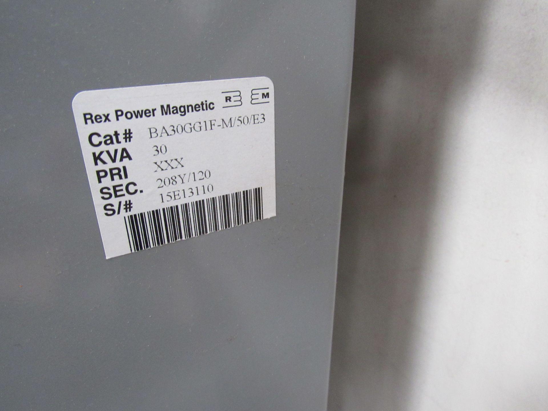 Rex Power Magnetic 30KVA 208Y/120Tranformer Serial Number 15E13110 Cat #, BA30GG1F-M/50/E3 - Image 3 of 4