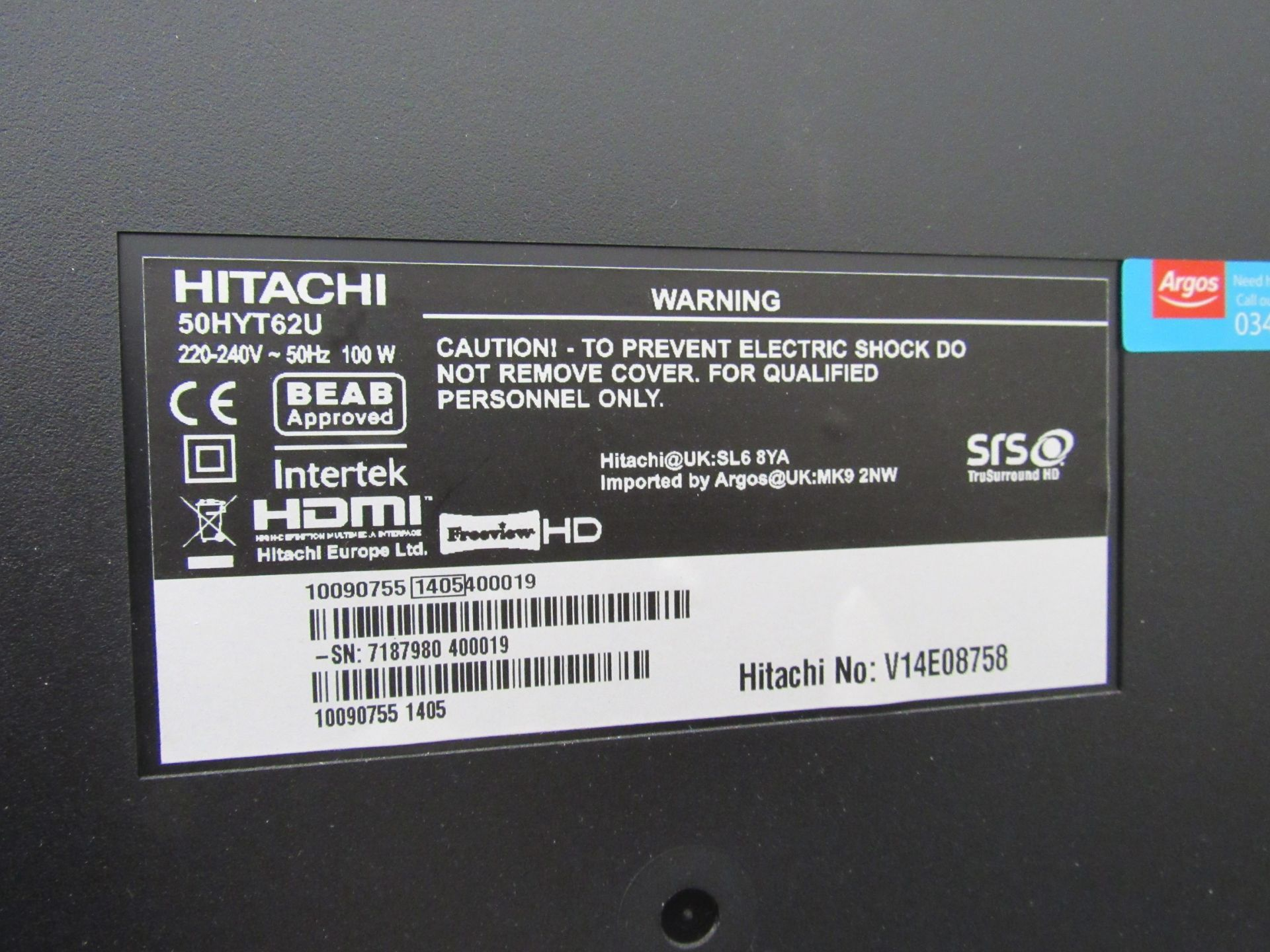 Hitachi 50HYT62U television, with remote control - Image 4 of 4