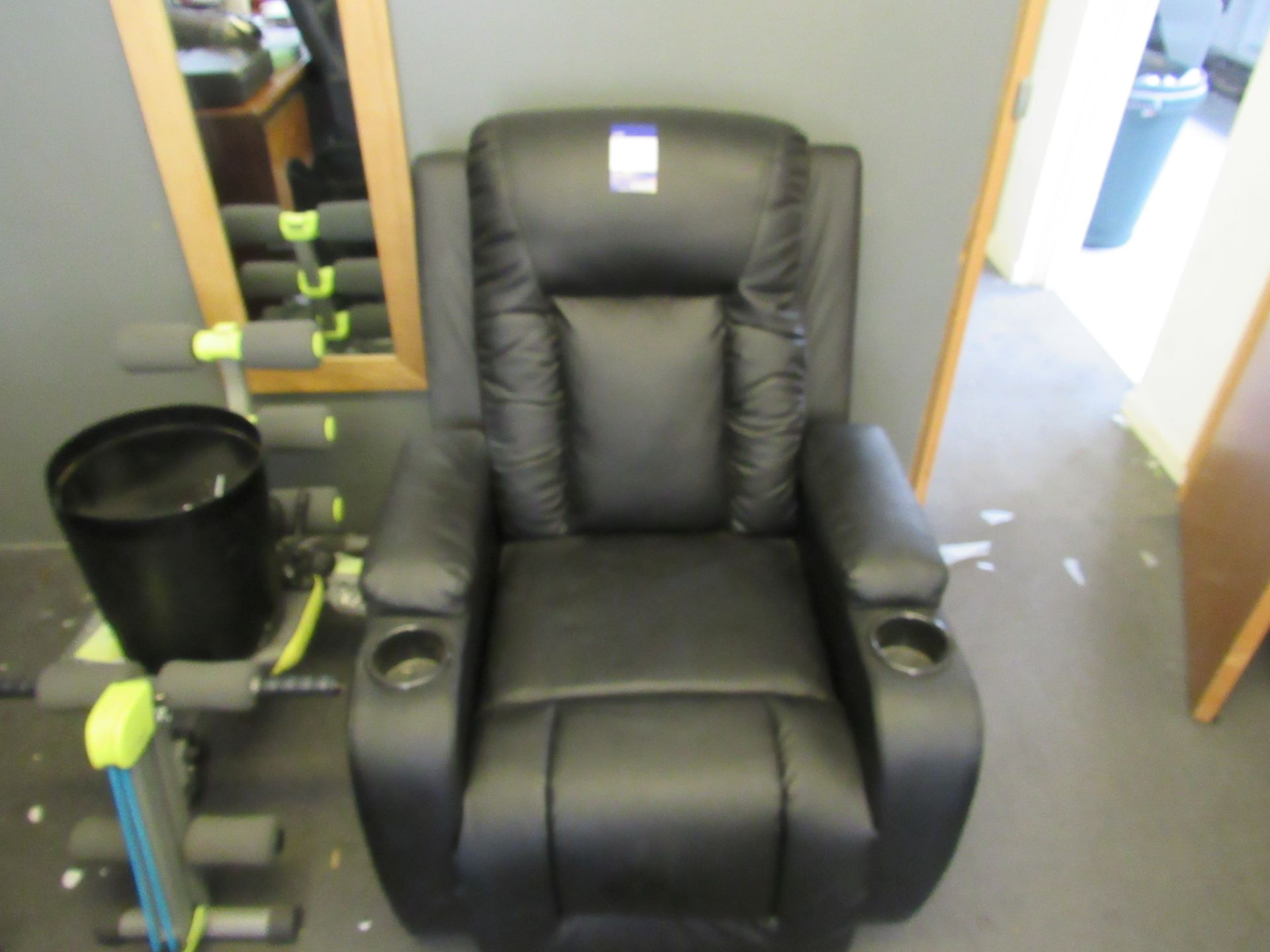 Leather effect 'Lazy Boy' style armchair - Image 2 of 2
