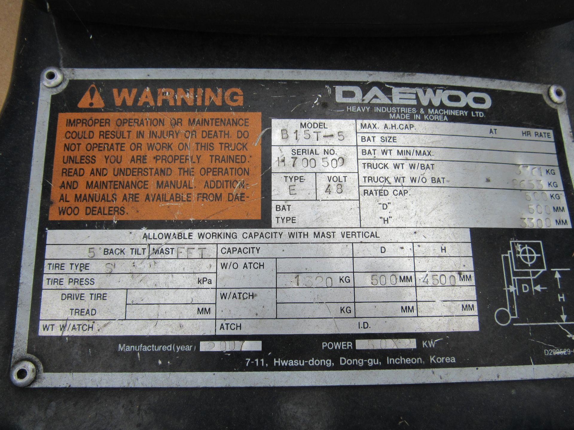 Doosan Daewoo B15T-5 Battery Forklift, 1320kg Capacity, 2278 Hours, Triple Mast, Side Shift, 2007, - Image 7 of 21
