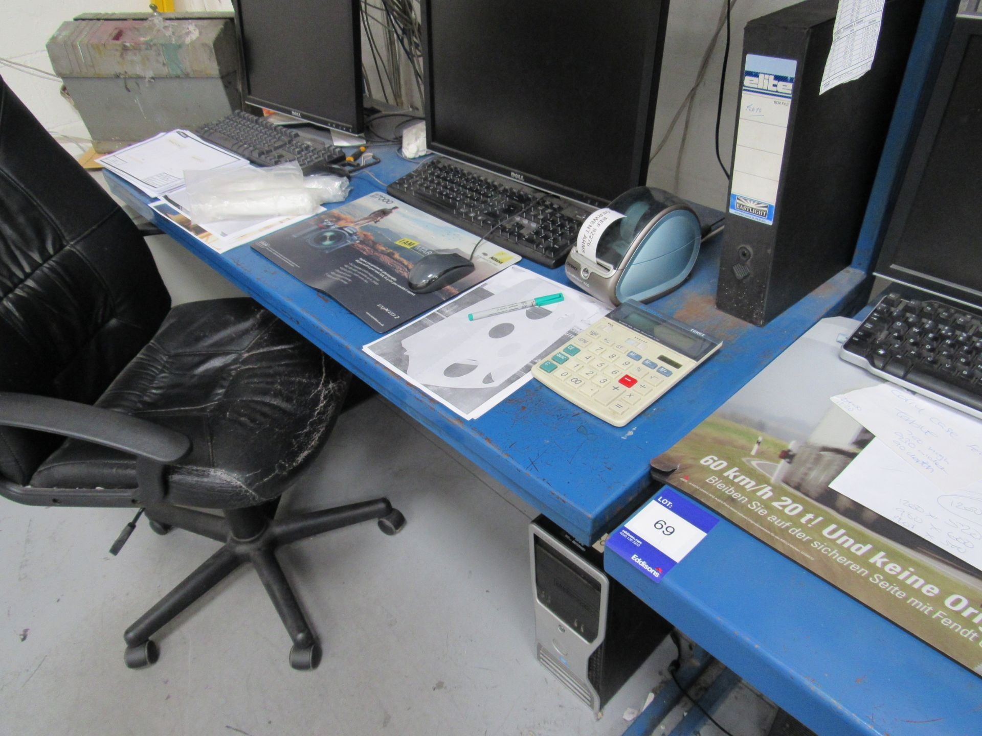 2 Steel Workstations with Quantity Various Computer Monitors, Keyboards, and Printer (PC Towers - Image 2 of 3