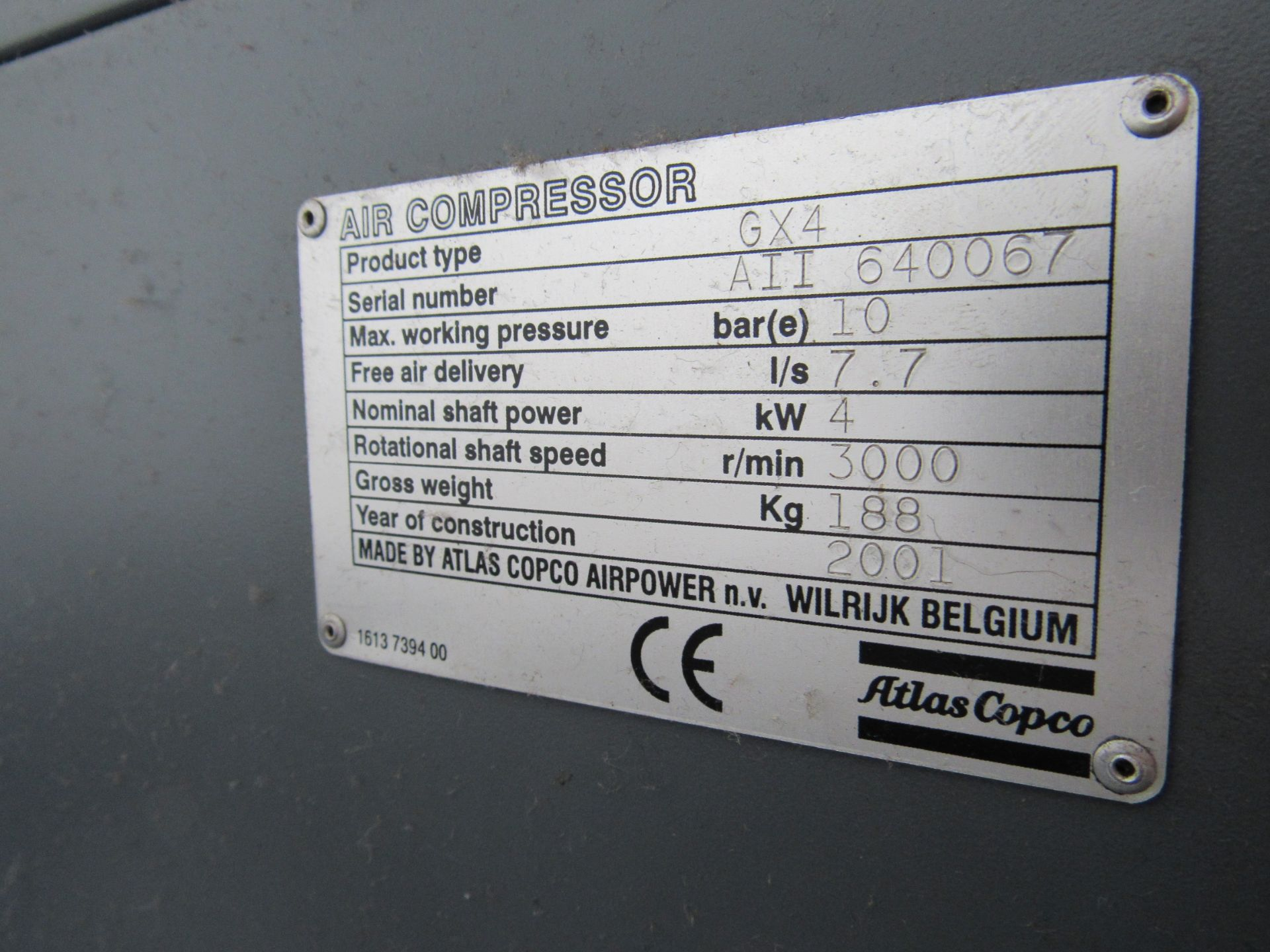Atlas Copco GX4 Receiver Mounted Compressor, 7847 Hours, Serial Number AII 640067, 2001 - Image 5 of 5