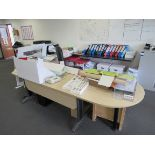 Single person 2 section workstation with leather effect operators chair, 3 drawer cabinet, to