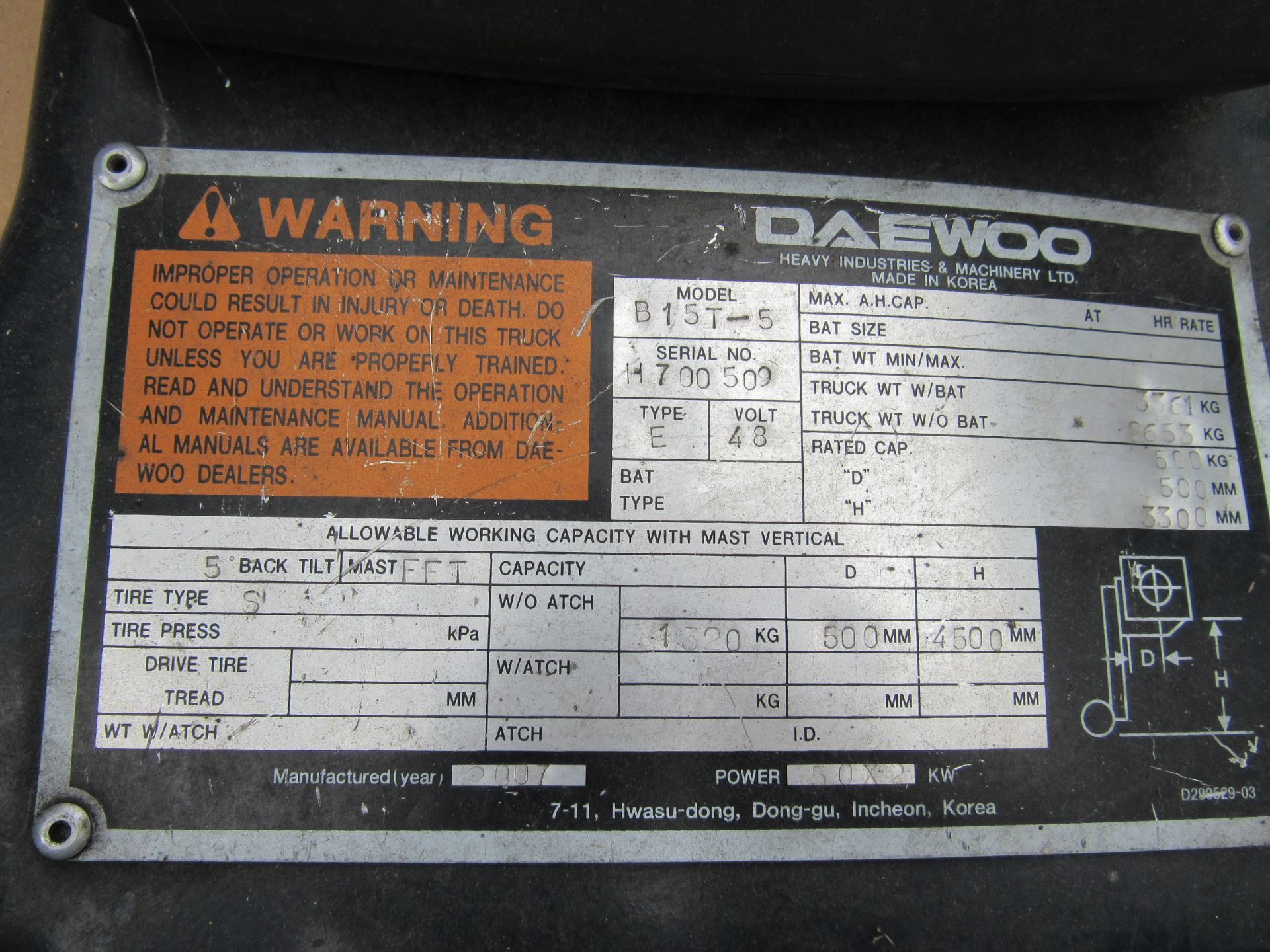 Doosan Daewoo B15T-5 Battery Forklift, 1320kg Capacity, 2278 Hours, Triple Mast, Side Shift, 2007, - Image 6 of 21