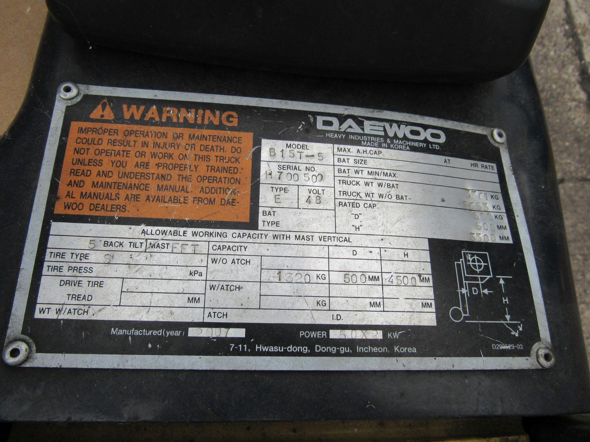Doosan Daewoo B15T-5 Battery Forklift, 1320kg Capacity, 2278 Hours, Triple Mast, Side Shift, 2007, - Image 18 of 21