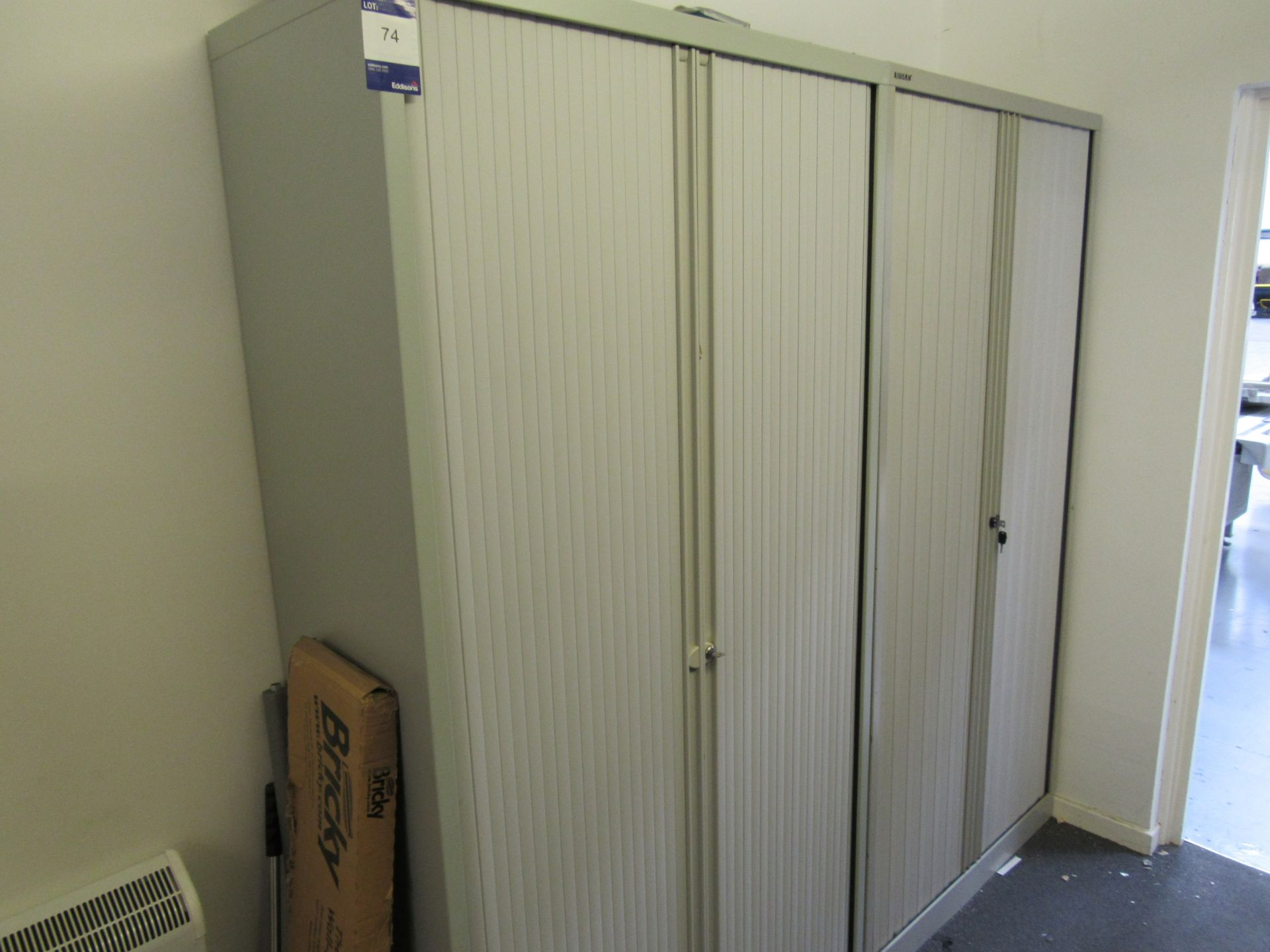 2 x Bisley tambour fronted cabinets (Approximately 1970 x 1000)
