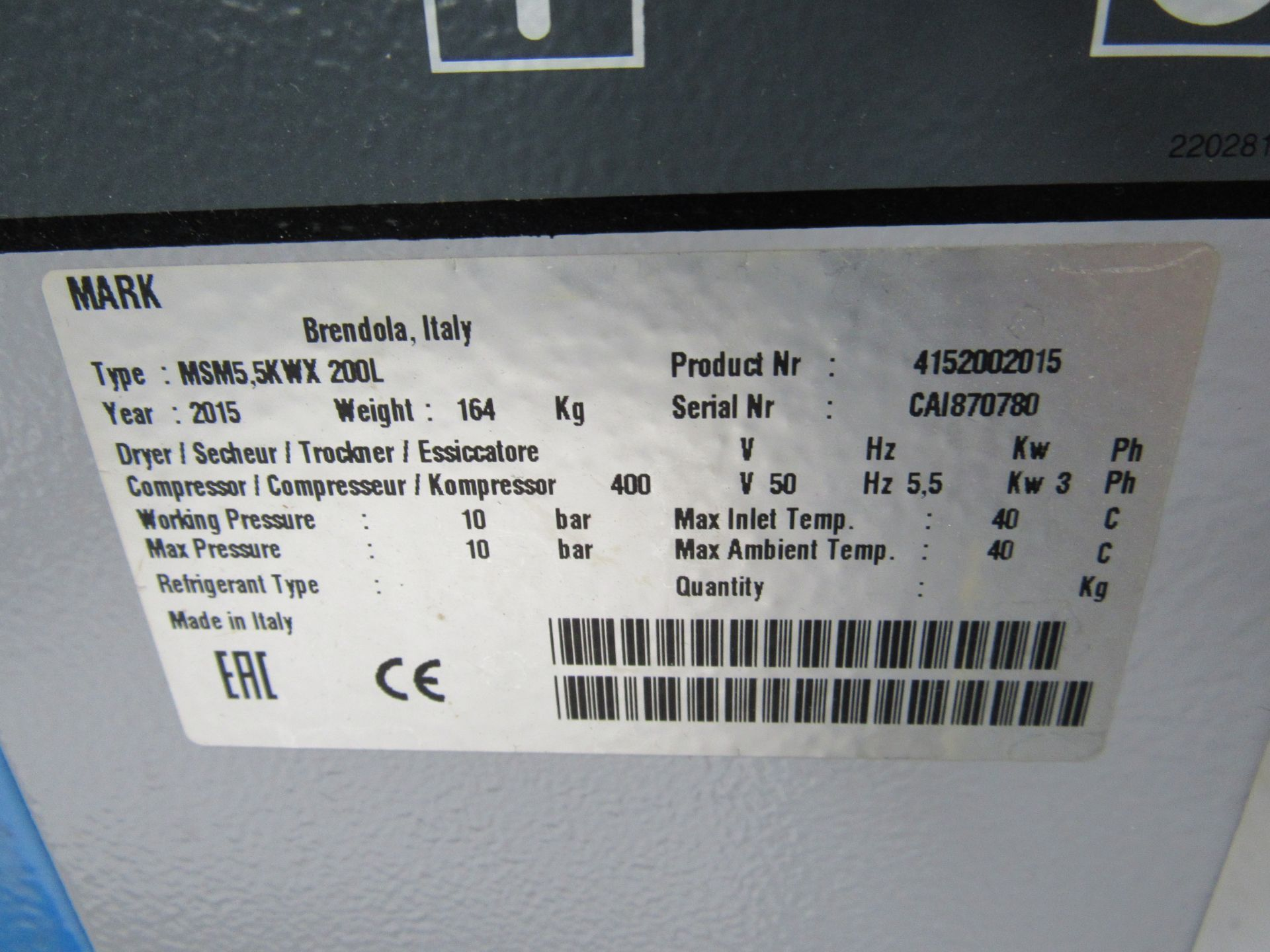 Mark MSM5, 5KWX, 200L Receiver Mounted Compressor with Air Drier Serial Number CA1870780 - Image 4 of 7