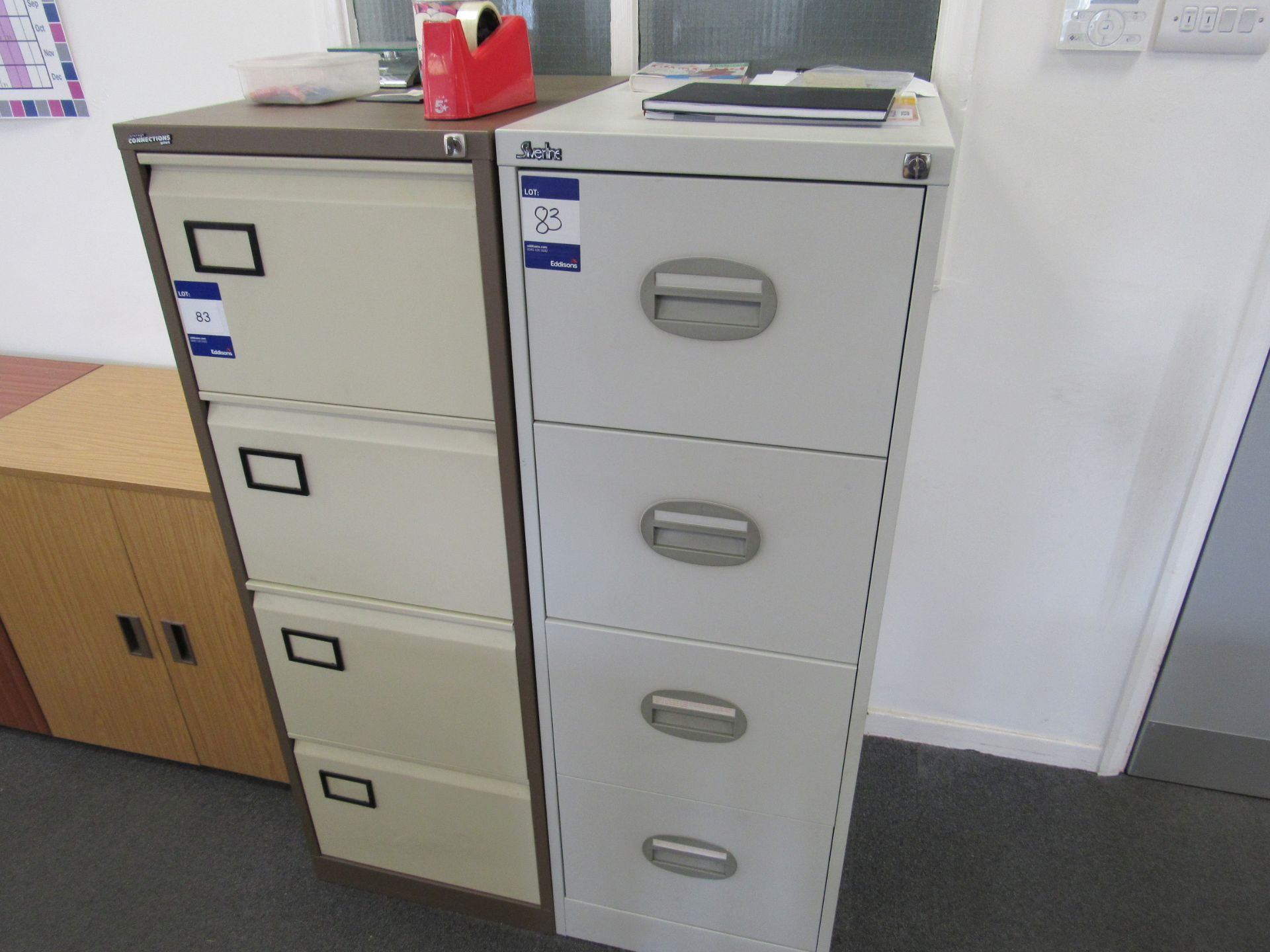 Storage Connections Plus 4 drawer metal filing cabinet, and Silverline metal 4 drawer cabinet, to - Image 2 of 2